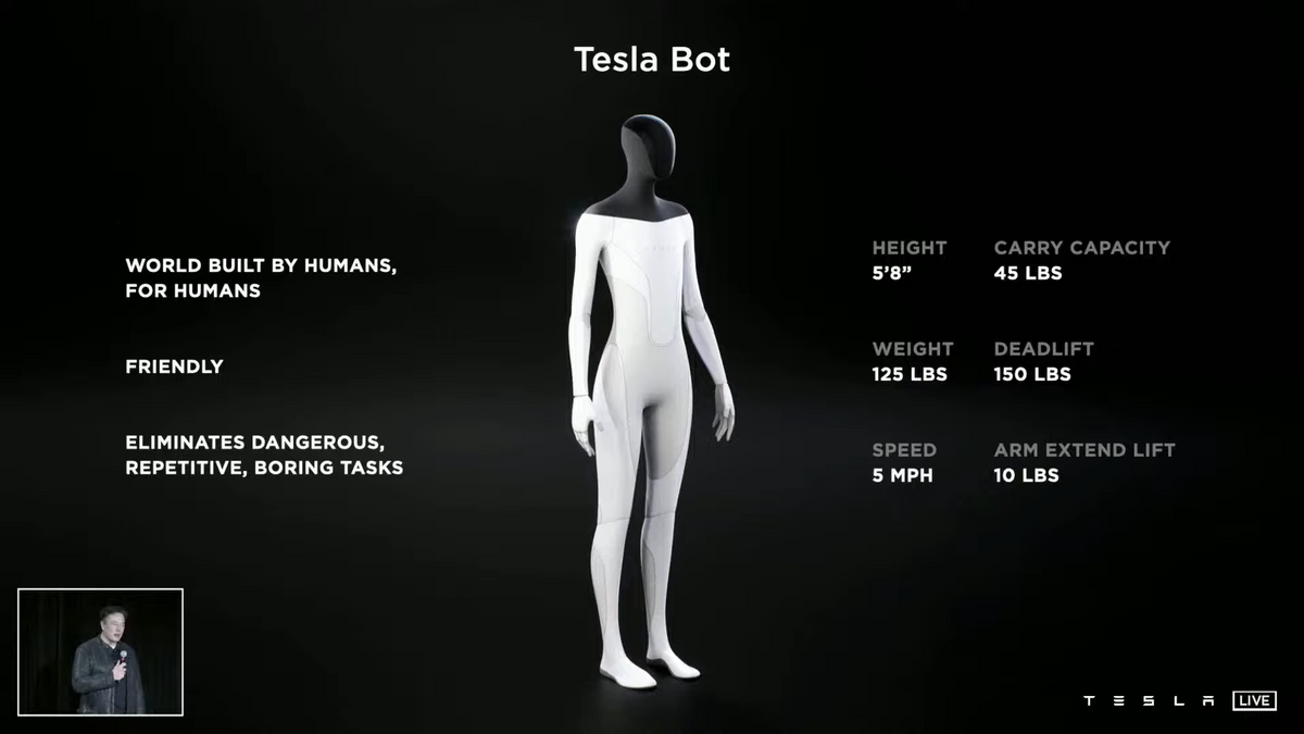 Concept image of Telsa Bot, a humanoid robot