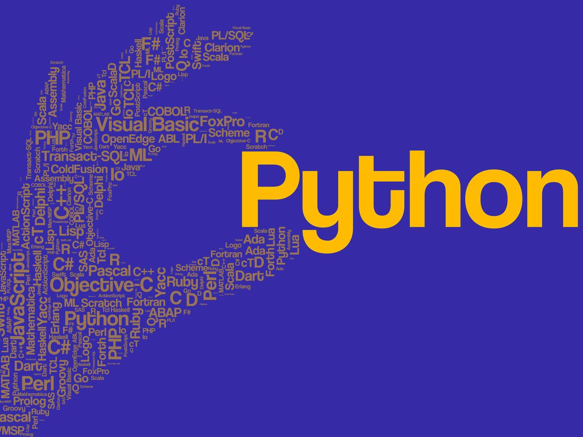 Purple background  with a yellow hand shape made up of names of programming languages holds the word Python, which is large.