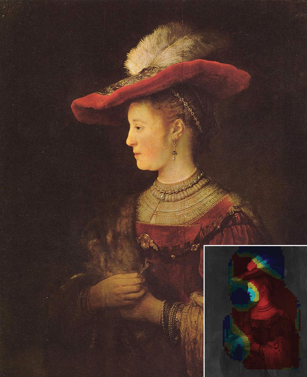 A painting by Rembrandt and probablity map.