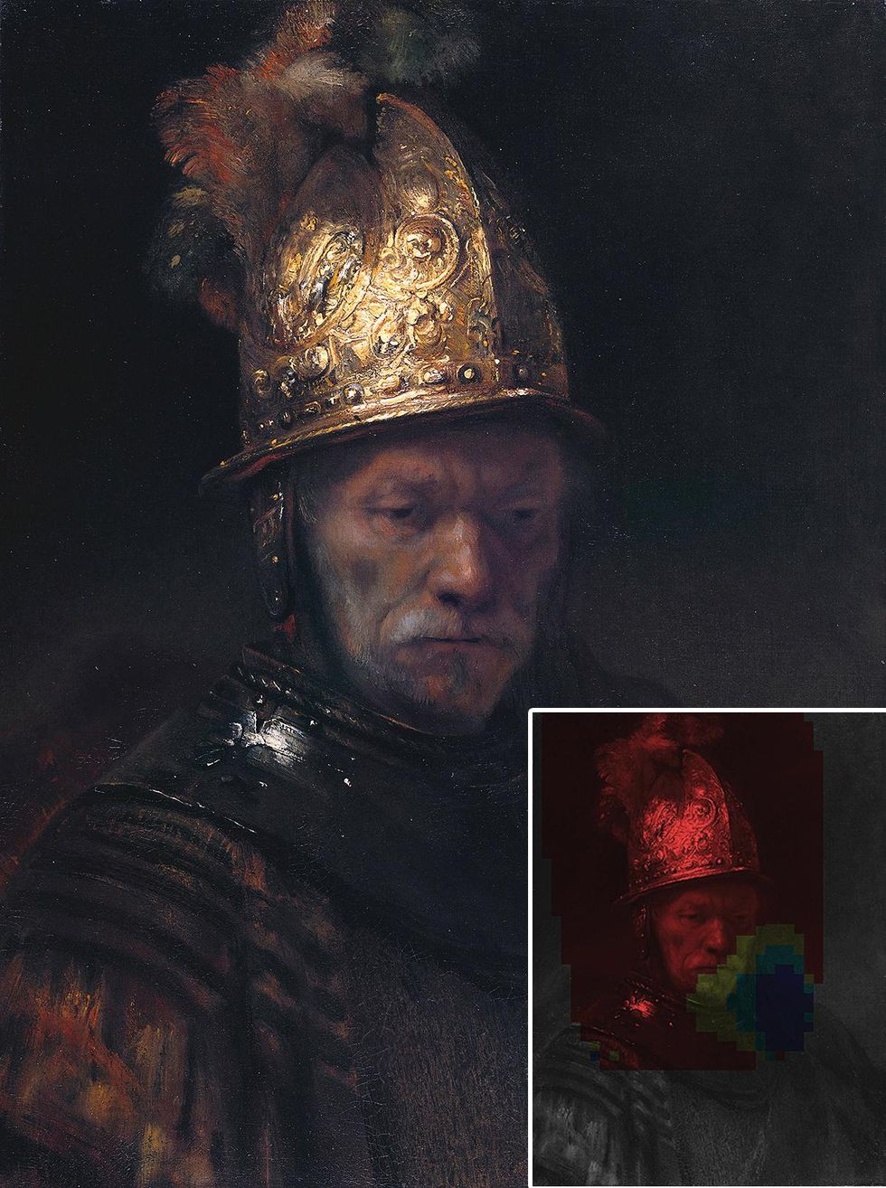 Painting of a man in a golden helmet and a probability map.