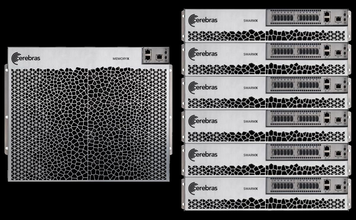 A silver and grey box labelled Cerebres MemoryX next to a stack of silver grey boxes labelled Cerebra SwarmX