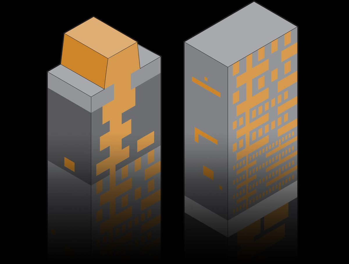 Image of data and power processors functions graphic with a dark background.