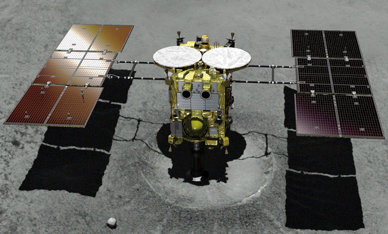 Illustration of Hayabusa2 on the asteroid Ryugu.