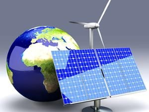 An illustration of the African continent with a solar PV and a wind turbine.