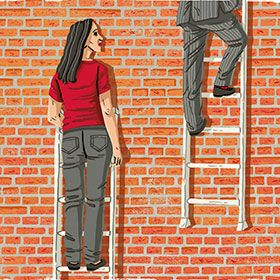 Illustration of a woman who cannot climb a ladder that goes no further, while a man climbs a ladder that extends high up.
