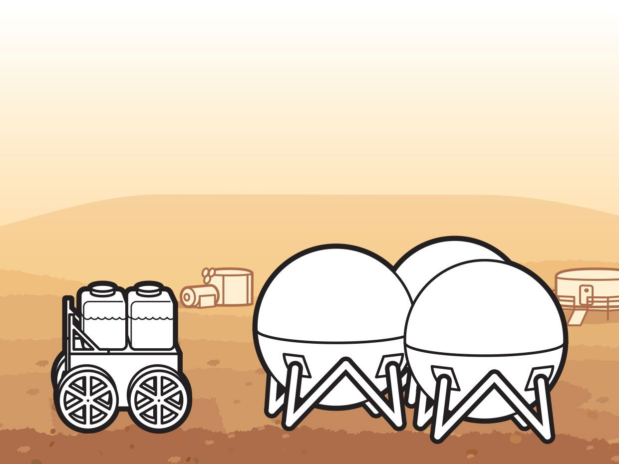 <b>5. DELIVERY:</b> The tanker robot delivers water, oxygen, and methane to human habitats and long-term storage tanks.<br /> <b>6. USE AND STORAGE:</b> Astronauts consume water and oxygen—also used to grow plants—while fuel is kept as cryogenic liquids for future use.