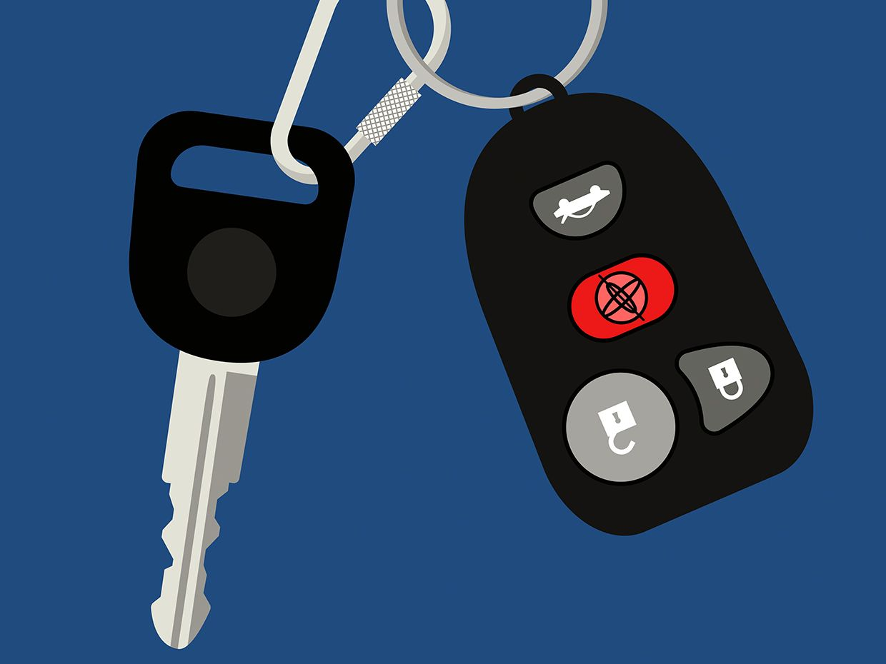 Illustration with a blue background, showing a car key and a keyless entry clicker, where one button has been replaced with a symbol indicating an accelerometer.