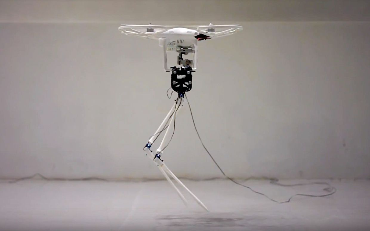 Aerial Biped robot is a quadrotor with legs