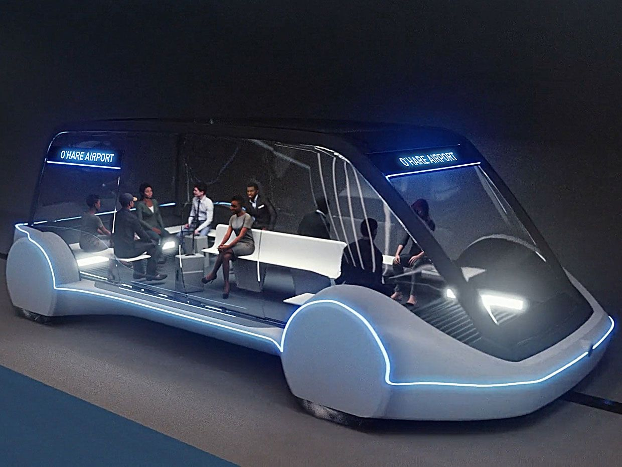 Illustration of the Boring Company's rapid transit vehicle.