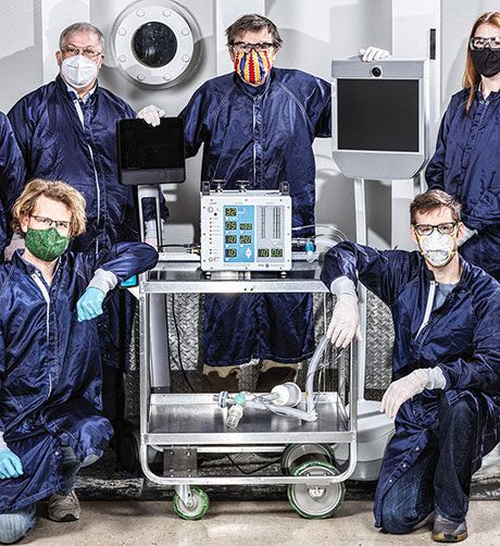 engineers with ventilators