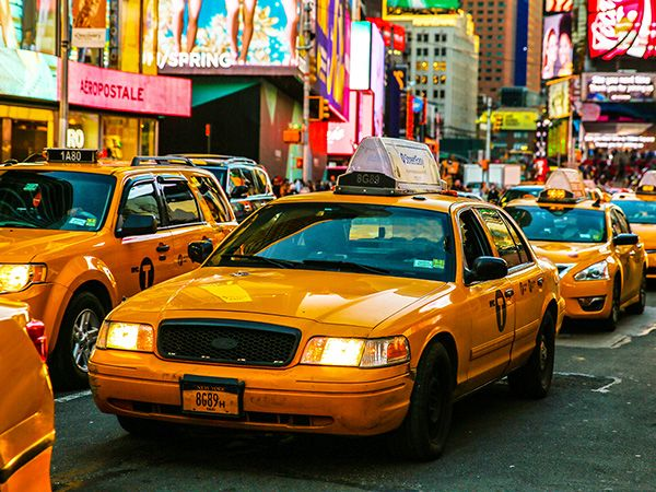 A group of NYC taxis.