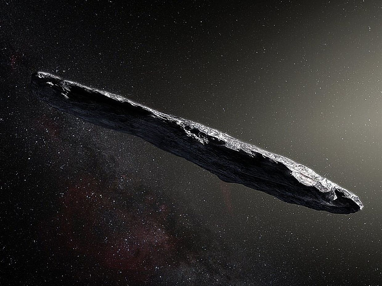 Conceptual illustration of interstellar asteroid 'Oumuamua as it passed through the solar system after its discovery in October 2017. The aspect ratio of up to 10:1 is unlike that of any object seen in our own solar system.
