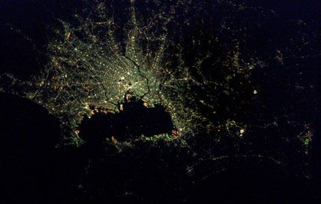 images of earth from space at night. Tokyo at night as seen from the International Space Station.