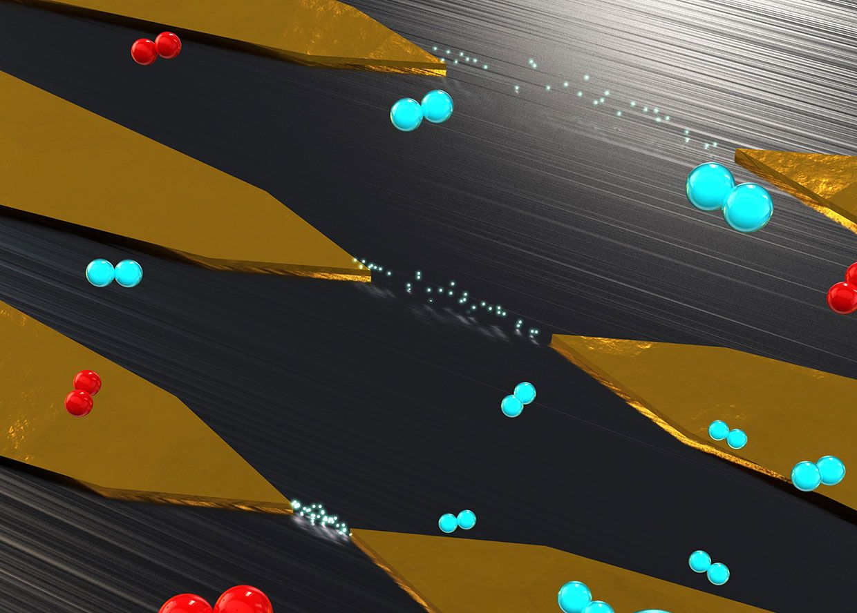 Illustration of electron flows across nanoscale gaps in metal electrode pairs. Only the smallest gap enables scatter-free electron transport.