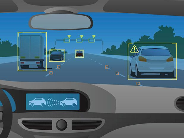 illustration of self-driving car windshield and dashboard