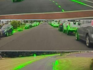 Three road scenes with a bright green highlight surrounding other cars, lane markings, and the edges of the road