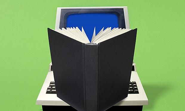 Illustration of a book opened over a laptop computer