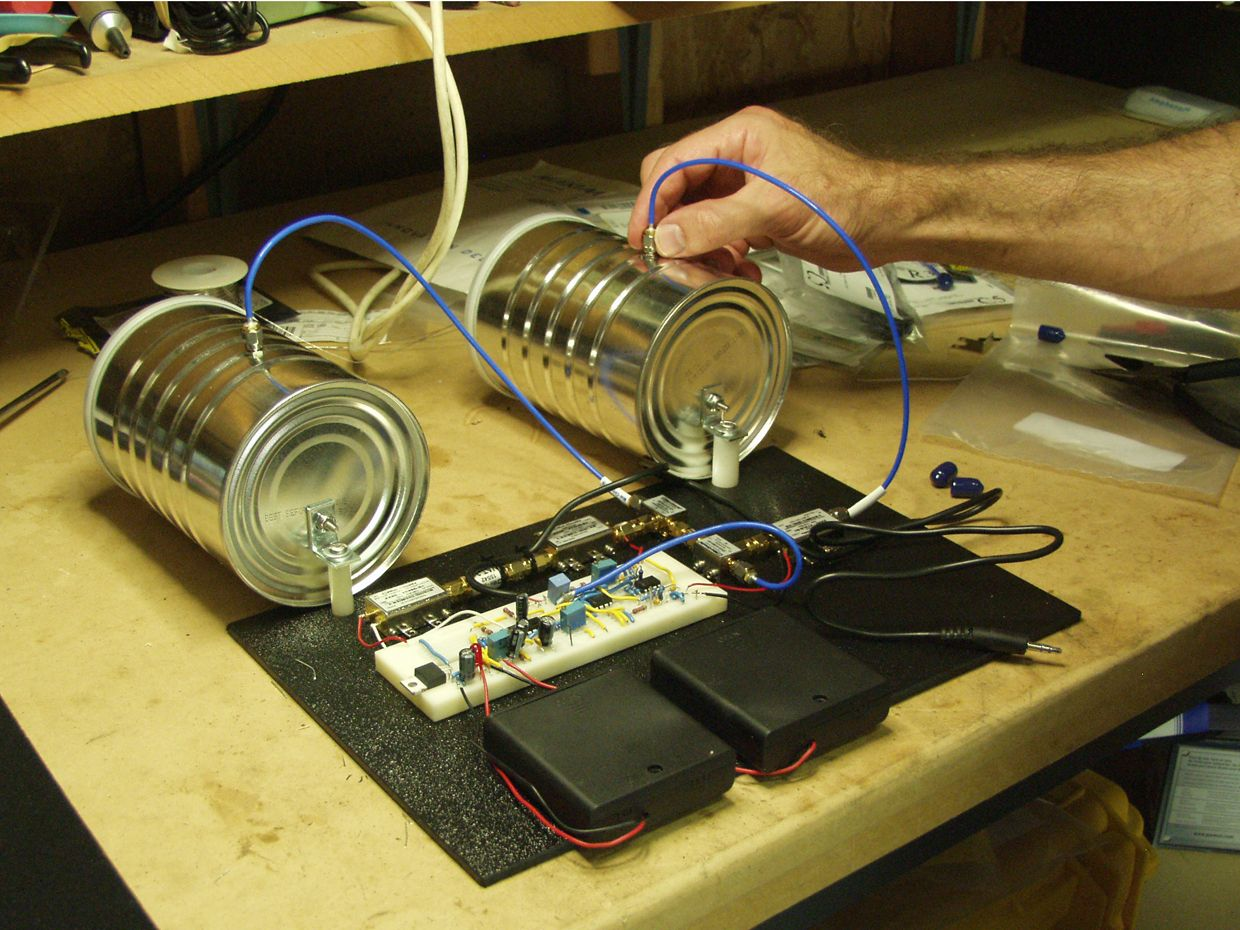 Build A Coffee Can Radar Ieee Spectrum Wire Is Antenna Control And The Brown Wires Are Your Ground Let