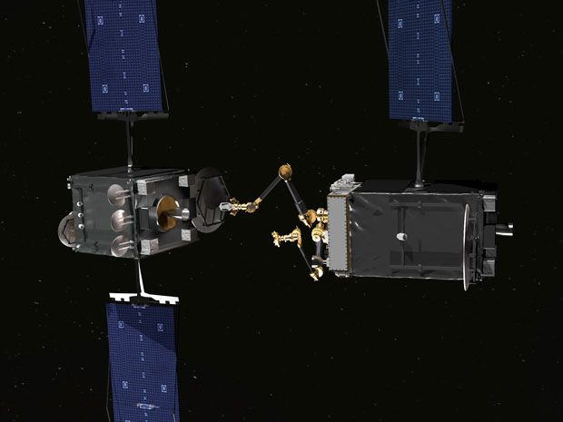 The RSGS spacecraft [right] will be able to approach, dock with, and service satellites in geosynchronous orbit.