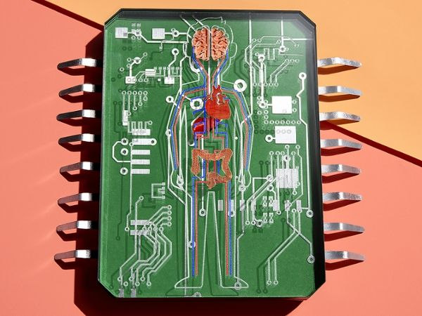 Photograph showing a conceptual prop imagining a mini-me on a chip to test medicine.