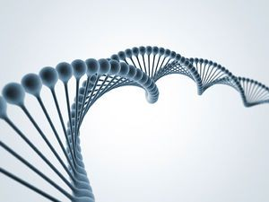 Twisting double-helix molecule of DNA