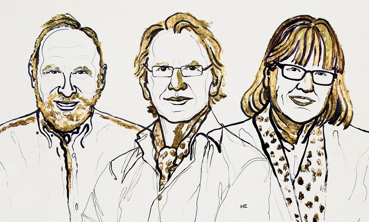 Illustration showing, from left, Arthur Ashkin, Gérard Mourou, Donna Strickland, winners of the 2018 Nobel Prize in Physics.