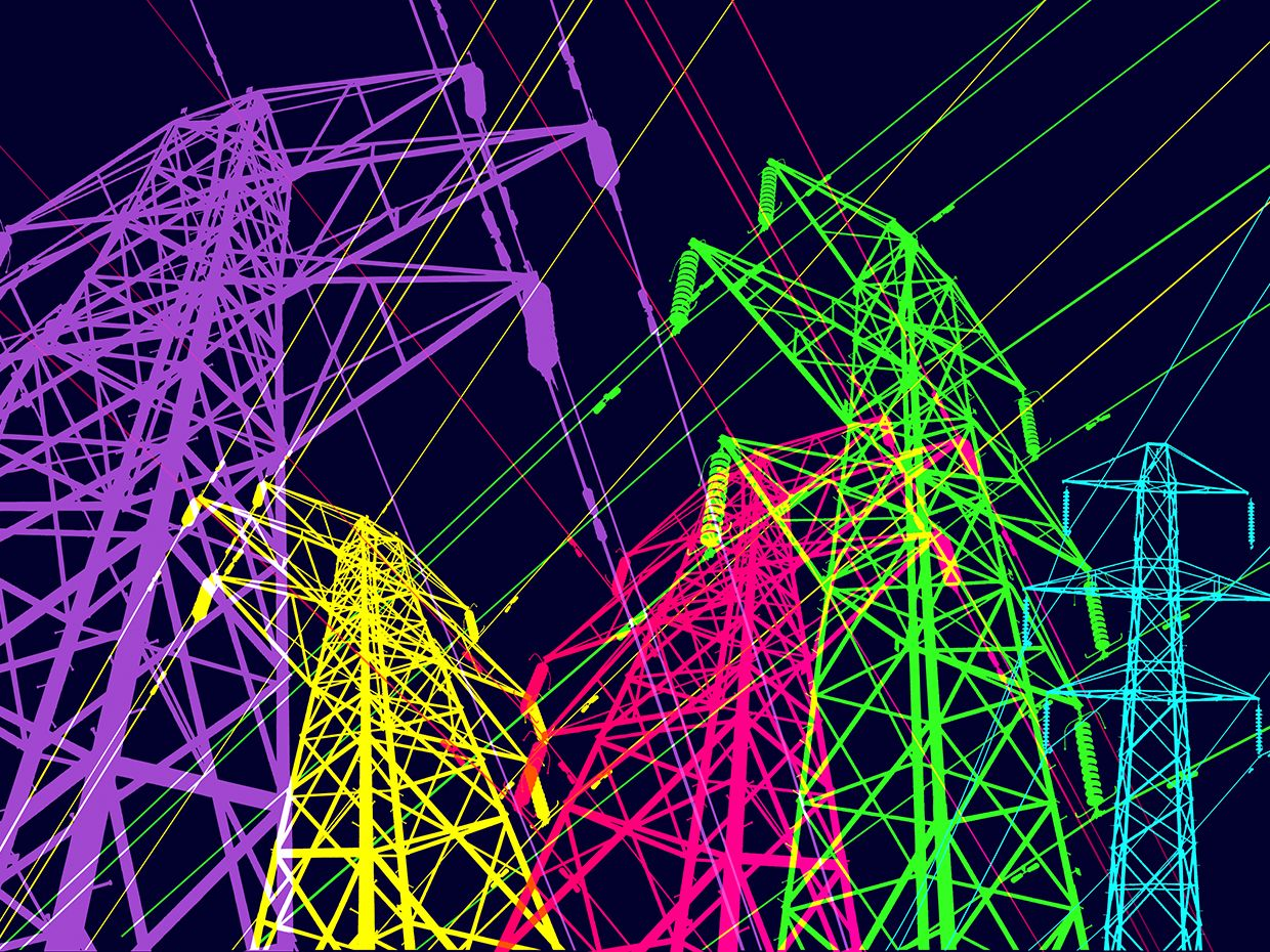 Graphic illustration of multiple electricity pylons from different angles.