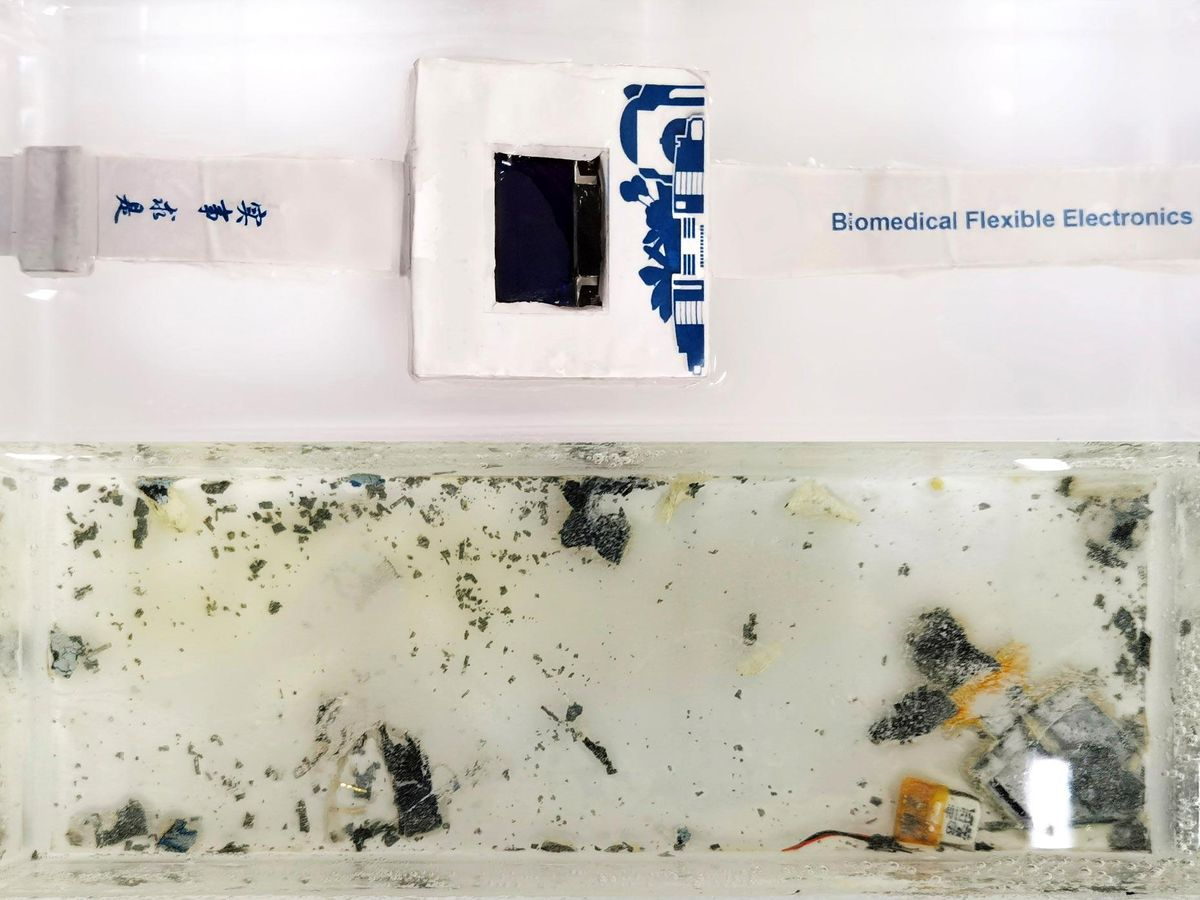 A prototype dissolvable smartwatch inside a poly(vinyl alcohol) case (top) dissolves in water within 40 hours (bottom)
