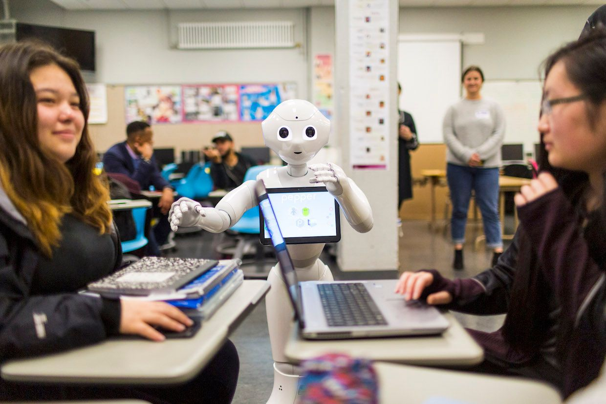 SoftBank's Pepper humanoid robot in a classroom