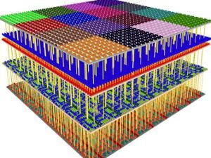 A 3D cut away of a four-level  chip.
