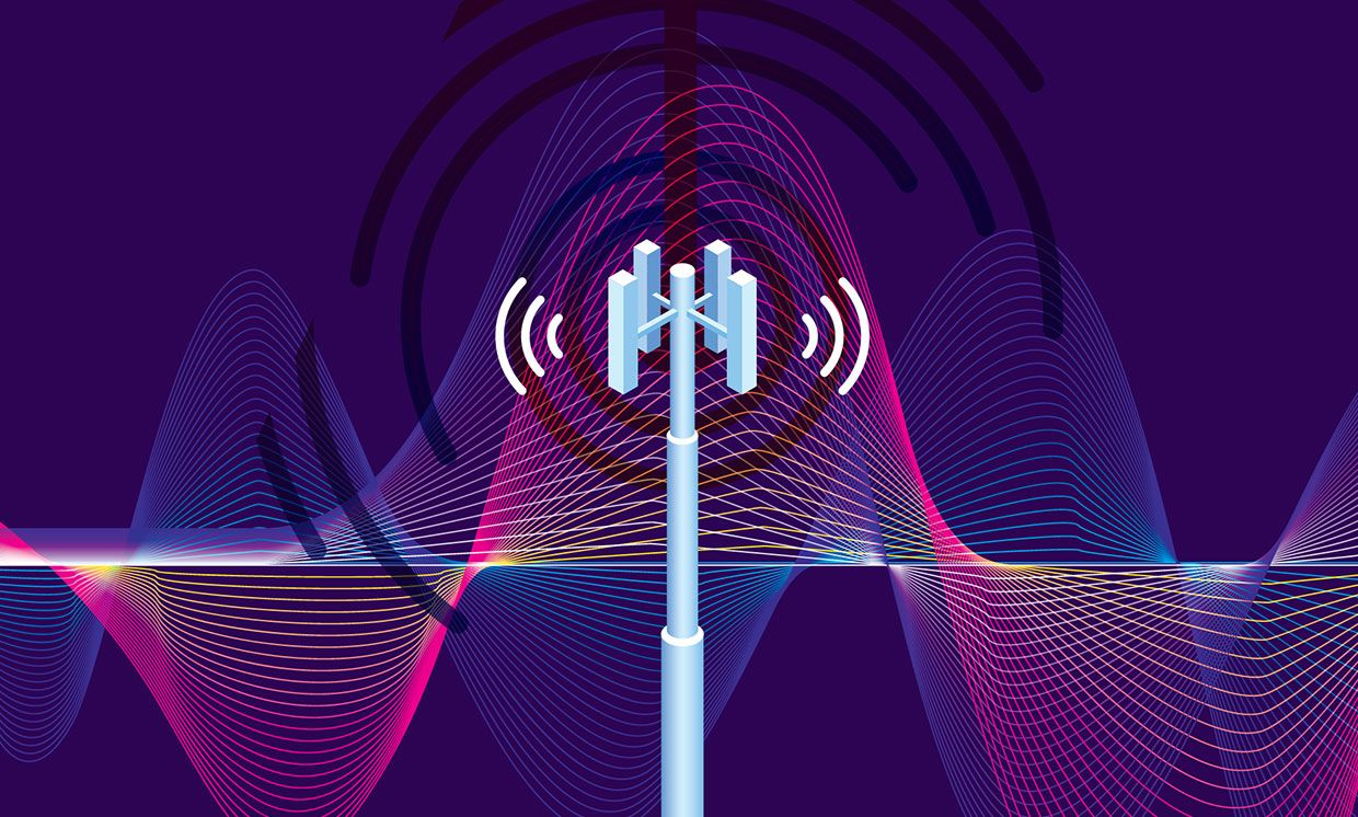 Illustration of a base station and waves.