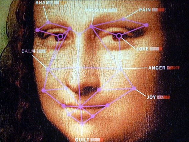 An image of the Mona Lisa, with facial features labeled that can be decoded to determine emotion