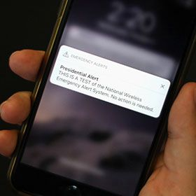 DATE IMPORTED:October 03, 2018A test text message of the Presidential Alert, National Wireless Emergency Alert System is seen on a mobile phone in New York City, New York, U.S. October 3, 2018.