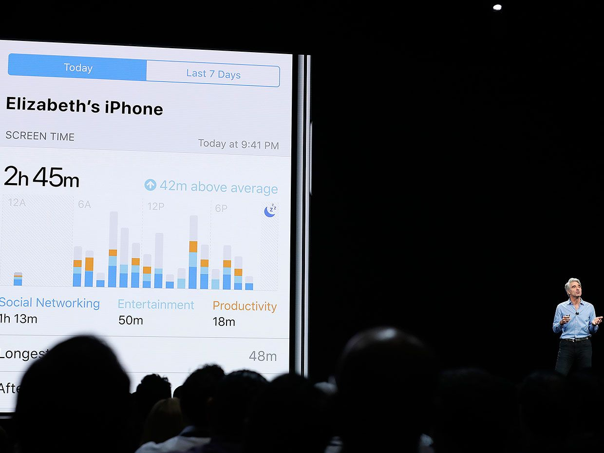 Craig Federighi, Apple's senior vice president of Software Engineering, speaks about screen time during an announcement of new products at the Apple Worldwide Developers Conference Monday, June 4, 2018, in San Jose, Calif.