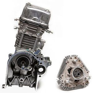 LiquidPiston's rotary engine beside a more conventional internal combustion engine.