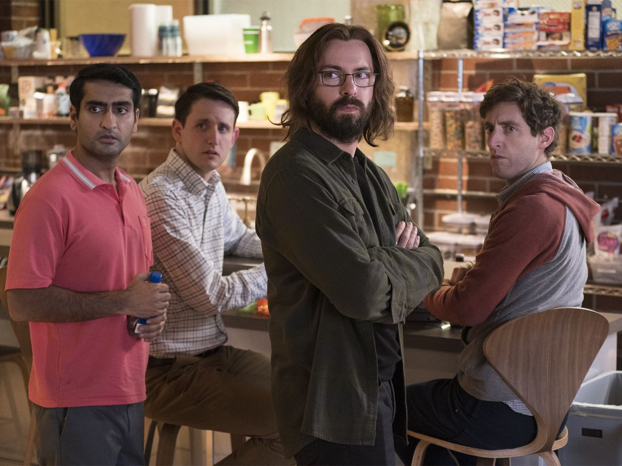 Kumail Nanjiani, Zach Woods, Martin Starr, Thomas Middleditch in a scene from Season 5 of Silicon Valley