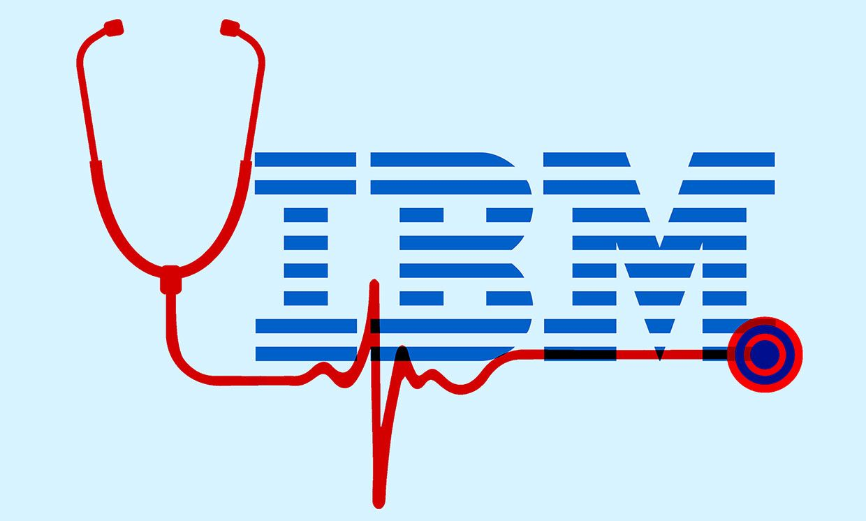 Illustration of IBM logo with stethoscope.