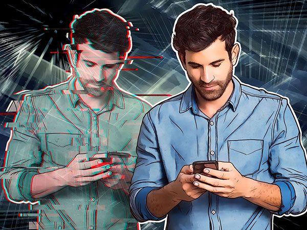 Photo-illustration of a man on a smartphone next to a glitching digital version of himself.