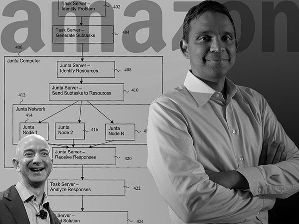 "Collage of Venky Harinarayan, Jezz Bezos, and the patent for a ""hybrid machine/human computing arrangement""."
