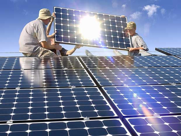 Photograph Of Rooftop Solar Installation