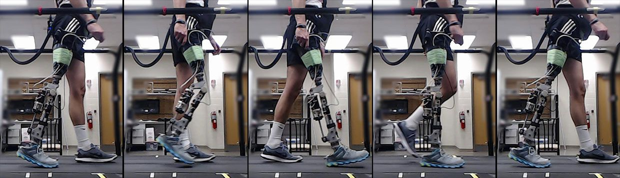 Series of 5 images showing a patient with a robotic prosthetic knee walking during the experiments.