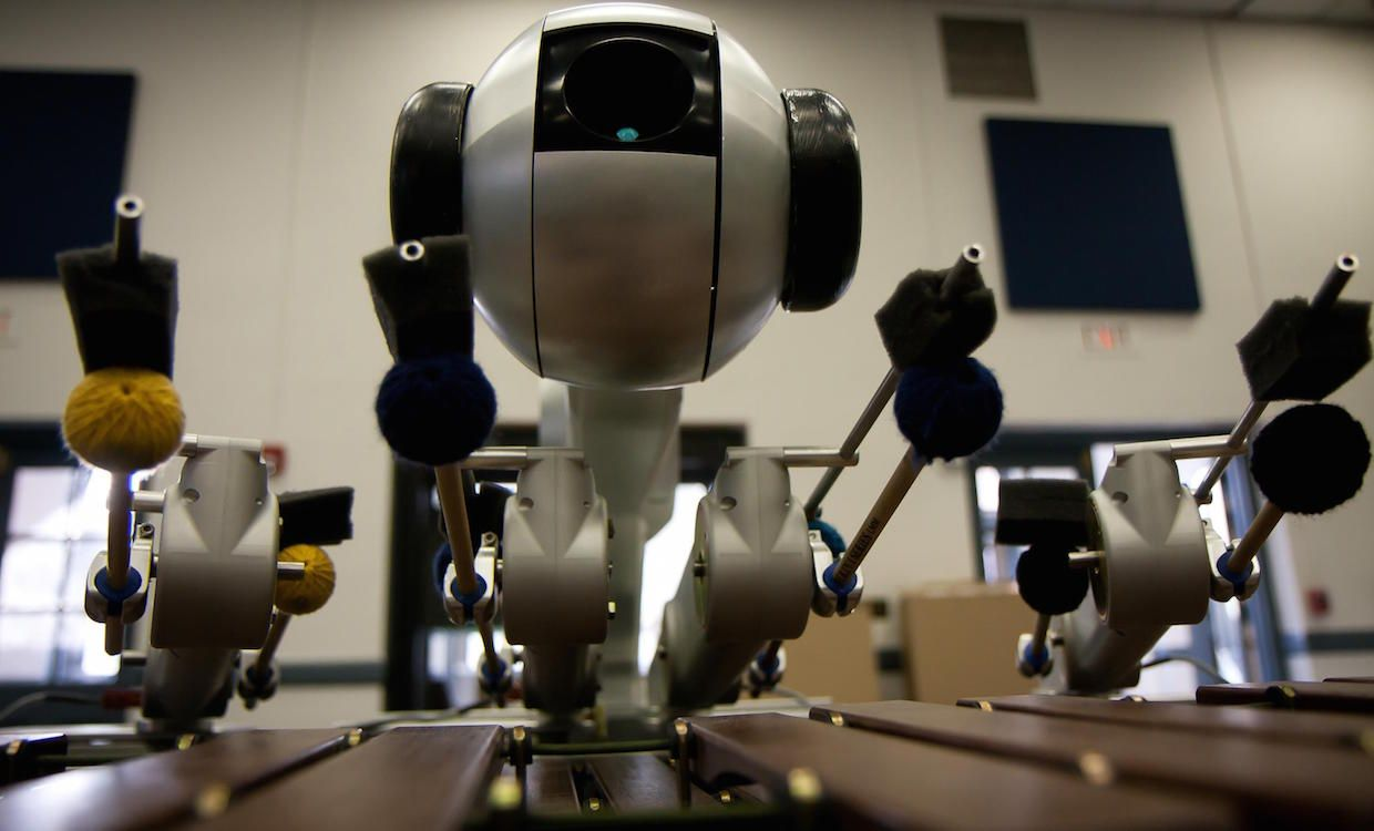 Four Armed Marimba Robot Uses Deep Learning To Compose Its Own Music