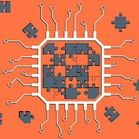 Illustration of puzzle pieces forming a chip