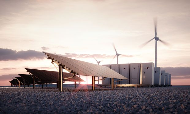 Image of new renewable energy technologies at dawn.