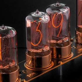 Photo of a clock featuring modern-day Nixie tubes made by Dalibor Farny.