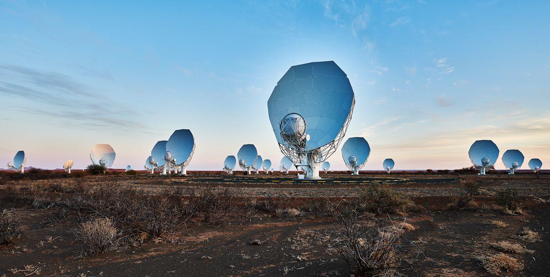 Image of radio antennas for MeerKAT array.