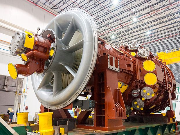 View of a Mitsubishi-made gas-fired turbine