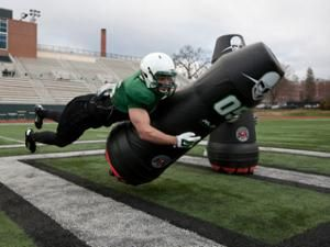 The Mobile Virtual Player robotic tackling dummy takes hits so football players don't have to, avoiding sports injuries and concussions