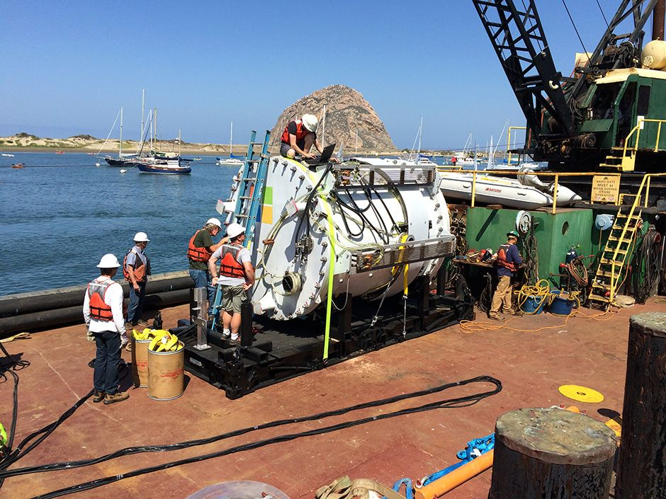 The pod was placed on a barge, where it was prepared for its test deployment off the coast of Southern California.