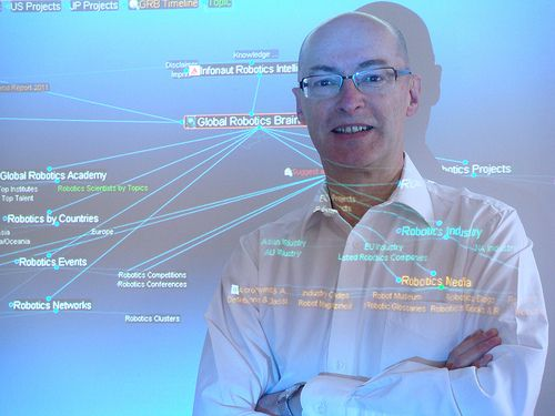 photo of Wolfgang Heller and a projection of the Global 